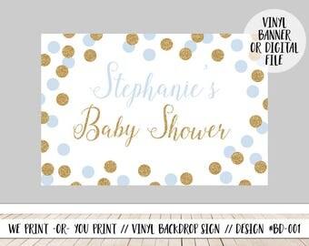 Blue Baby Shower Welcome, Boy Baby Shower Backdrop, Blue Gold Backdrop, Babyshower Backdrop Sign, Blue Gold Baby Shower Sign