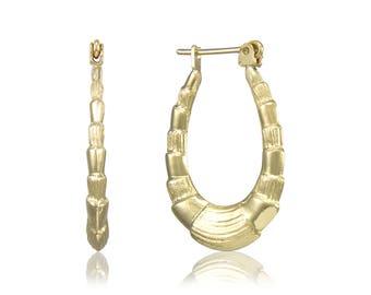 10K Yellow Gold Scalloped Hoop Earrings - Oval Shrimp Puffy Hollow Door Knocker Women's