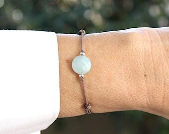 String Mole faceted gems amazonite stone bracelet