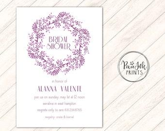 Bridal Shower Invitation, Modern Bridal Shower Invitation, Wreath Wedding, Simple Bridal Shower Printable, Wreath Bridal Invitation