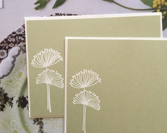 Embossed Note Cards, Allium Flower, Stationery Set, Flat Note Cards