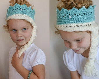 Crochet ice princess crown with hair & snow flakes
