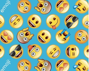 Emoji party cotton fabric by the yard david textiles free for Emoji material by the yard