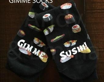 GIMME SOCKS!,  Gimme Sushi Woman's Novelty Crew Socks, Stocking stuffer