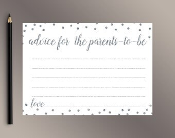 Advice for Parents-To-Be, Printable Baby Shower Games, Silver Polka Dots Baby Shower game, Advice for Mom-To-Be, Funny Baby Shower activity