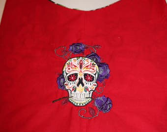 Calavera Sugar Skull Day of the Dead Embroidered Hobo Slouch Book Bag Purse