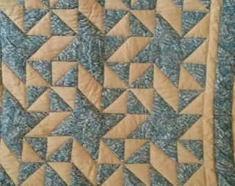 Blue and gold, hand quilted, queen size quilt