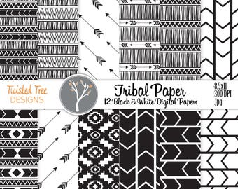 12 Black & White Digital Papers 8.5x11 Tribal, Arrows, Adventure, for DIY projects, Blogs, Invitations, scrapbooking Small Business use.
