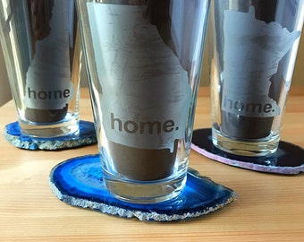 State Pint Glass-Home Glass-State Beer Glass-Minnesota Glass-Etched Glass-Husband Gift-Boyfriend Gift-Pick your State