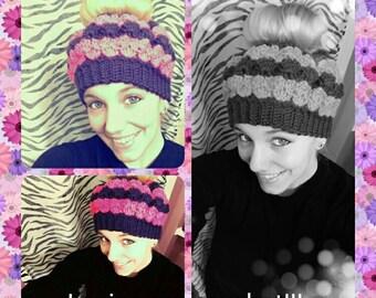 Crochet Hat, Ponytail Hat