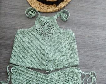 Crochet bikini set-top +bottom, Crochet swimsuit, Crochet bikini botton, Crochet bikini top, Crochet swimwear, Beach bikini set