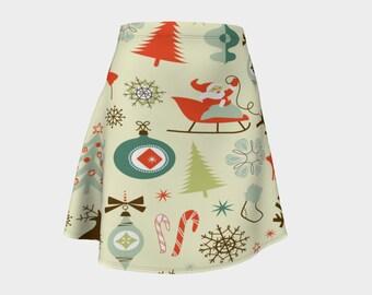 Vintage Christmas collage flare skirt, Vintage Christmas, Christmas skirt, ugly sweater, Christmas outfit, Christmas dress