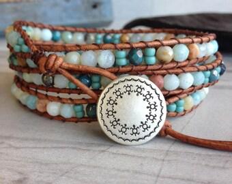 Gem Stone Beaded Leather Wrap Bracelet, Boho Bracelet, Leather Wrap Bracelet, Boho Jewelry, Gem Stone Jewelry, Pastel Bracelet
