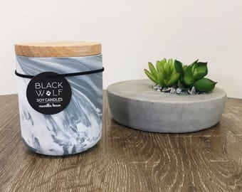 Marble Candle in White Charcoal