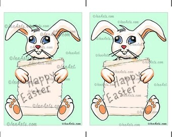 Digital PRINTABLE Vintage Easter Bunny Greeting Card