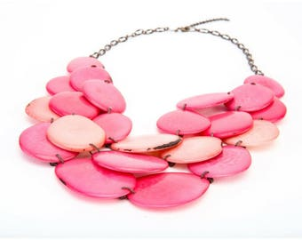 Summer Fashion - Tagua Nut Necklace, Hand-sliced Tagua Beads, Bib Boho Pink Necklace, Handmade Eco-friendly Beach Jewelry - FREE SHIPPING