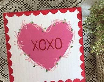 Conversation Heart Art, XOXO, Heart Sign, Vintage Valentine, Valentine Decor