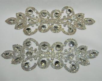 Crystal Applique, Rhinestone Applique, Bridal Applique, Applique, Beaded Rhinestones, Swarovski Applique Silver/rose gold #30893