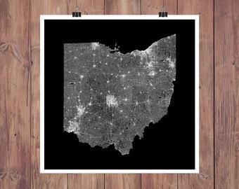 Ohio Wall Art roads of ohio map art printable ohio map print ohio map
