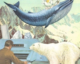 Whale and polar bear- Collage art mixed-media vintage illustration handmade composition