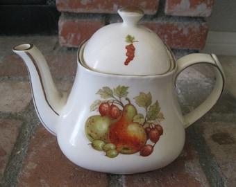 Sale!! Vintage SADLER Fruit TEAPOT=ENGLAND Gold Edge Teapot=Pineapple Pears Teapot=Apples Teapot=Vintage Sadler Teapot=Gold Edge Teapot.