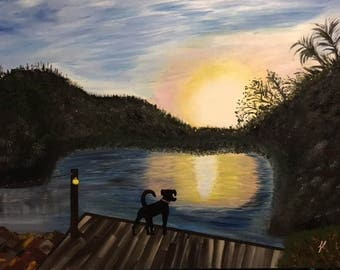 "Watching the Sunset - wall décor acrylic painting art, 24""x30"" canvas stretched/wrapped on 5/8"" bars"