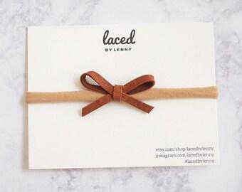 Leather Nylon Headband Bow