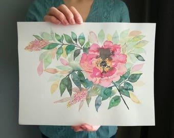 Wild rose - Original Watercolor Painting / wild flowers painting / floral art / watercolor painting / watercolor rose flower horizontal pic