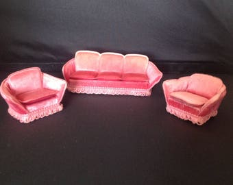 Vintage pink sofa for lundby dolls house 1970's