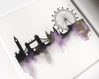 london skyline, london city skyline, london wall art, london home decor, london painting, big ben painting, london eye, london watercolour