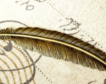 Feather charm antique bronze vintage style pendant charm jewellery supplies C75