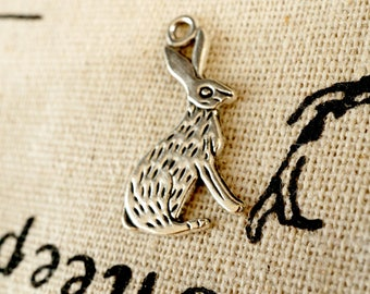 Rabbit hare bunny charms 7 antique bronze vintage style pendant charm jewellery supplies C230
