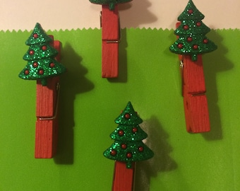 Mini Christmas tree with red ornaments clip, set of 4, wooden Red clip for gift bags or decoration