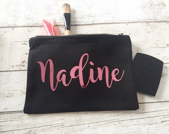 Pink metallic personalised make up bag | Personalised gift | Bridesmaid gift  | Personalised Birthday Present | Wash bag | wedding gift