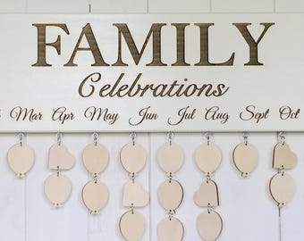 Family CELEBRATIONS Board, Family Birthdays Board, Anniversaries Board, Family Calendar, Birthday Gift, Anniversary Gift