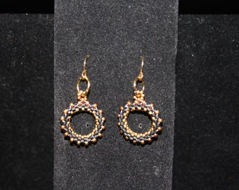 Black and Gold circular earrings