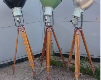 old industrial   light  wood tripod lamp