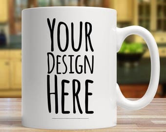 Custom mug, custom vinyl decal, custom ceramic mug, gift for him, gift for her, mugs, coffee mug, home decor, custom gift
