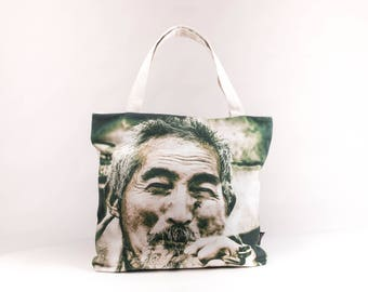 Old Man Vintage Shopper Tragetasche Schultertasche Tote Bag Shoulder Bag