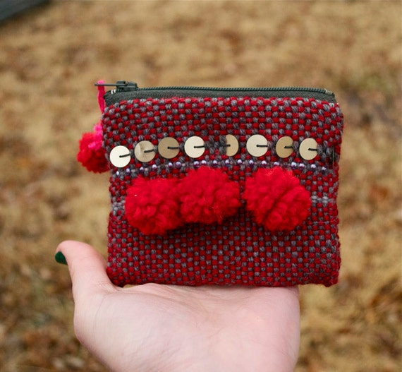 Red Boho Sequined Stripe Pouch - Handwoven and Lined Zipper Coin Pouch - Yarn PomPom - Handmade in USA