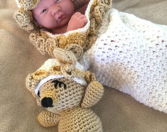 Baby Roses and Teddy Cocoon / 0-3 months / Handmade Crochet / Sleep Sack / Cuddle Sack / White / Beige / Acrylic / Hat / Stuffed Teddy