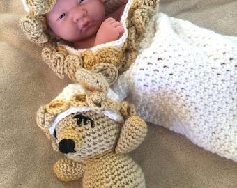 Baby Roses and Teddy Cocoon / 0-3 months / Handmade Crochet / Sleep Sack / Cuddle Sack / White / Beige / Acrylic / Hat / Stuffed Teddy