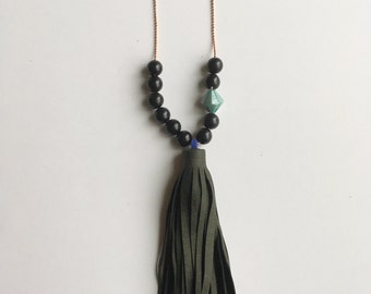 Beaded Leather Tassel Necklace