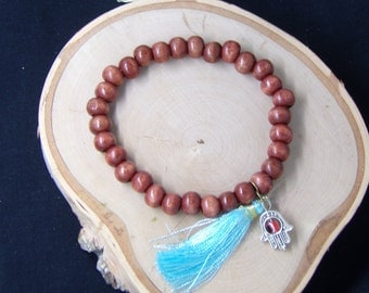 B1274 Small Wooden Beaded Bracelet with butterfly charm