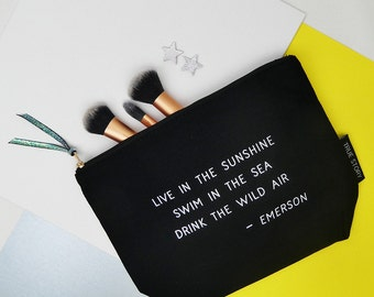 Live In The Sunshine Quote Make Up Bag