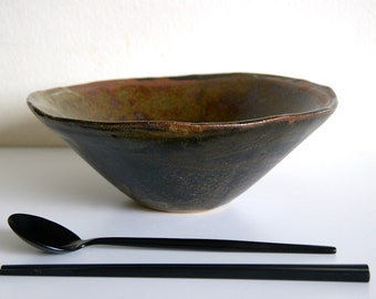 Ceamic Donburi Bowl - Gold, Green and Brown