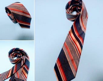 70s Vintage GIVENCHY Red, White, Light Blue, & Navy Blue Diagonal Striped Tie