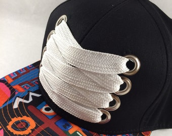 The Abstract - fat laces, flat brim custom snapback cap. Hip hop, B Boy style. Abstract & white.