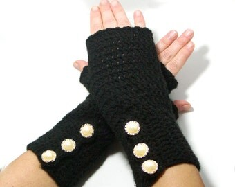 "50% OFF Crochet Gloves: ""BLACK GLOVES"" Fingerless Black mittens, Hand Warmers Hand Knit Mittens, Ladies Winter Mittens Winter accessory A175"