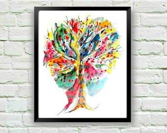 Watercolor Print, Abstract Print, Tree Wall Art, Tree Painting, Abstract Art, Watercolor Painting, Art for Kids Room, Abstract Painting